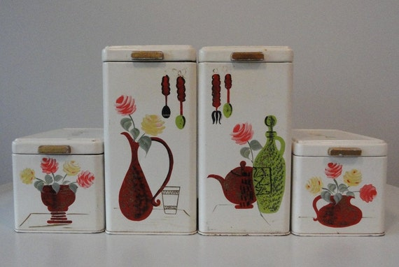 Shabby Chic Handpainted 4 Pc Vintage Cannister Set
