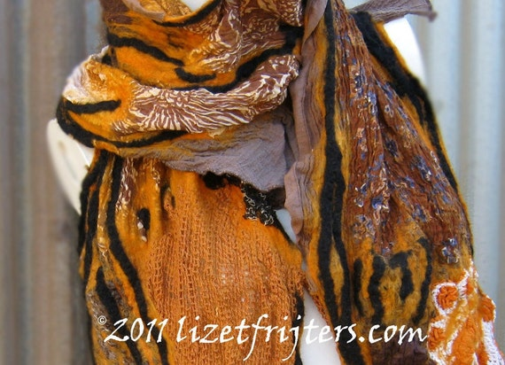 Upcycled Nuno Felt Scarf - Orange - Autumn Scape