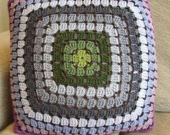 Purple Green Grey Crochet Cushion Cover
