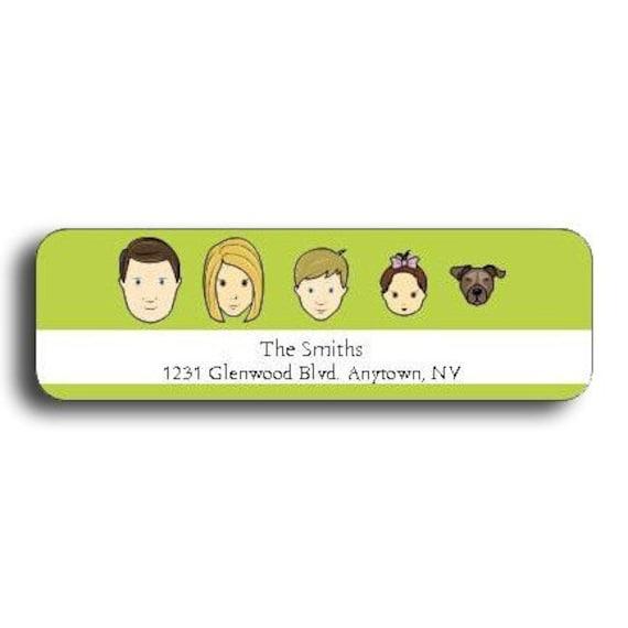 Family Caricature Return Address Labels