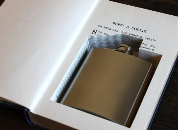 hollow book flask safe ''buff, a collie'' (flask included) - perfect for dads and grads - father's day gift