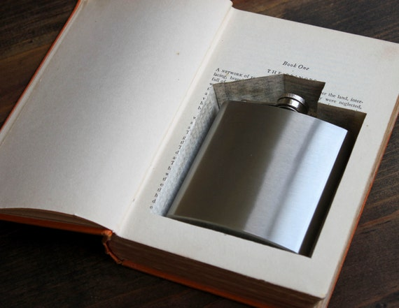 hollow book flask safe ''power'' (flask included) - old book with a flask inside