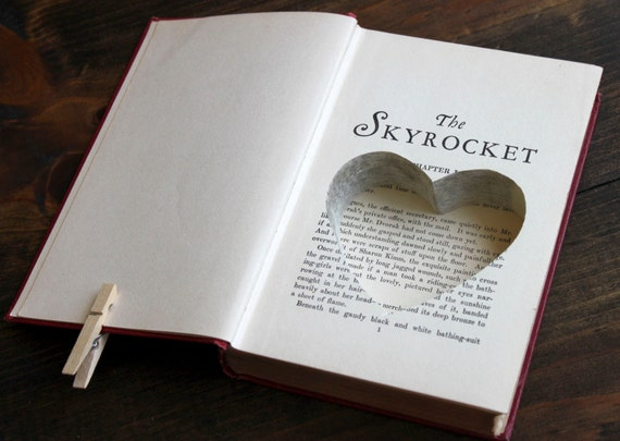 heart shaped carving hollow book safe ''the skyrocket'' - ring bearer book safe - perfect romantic old book with heart inside