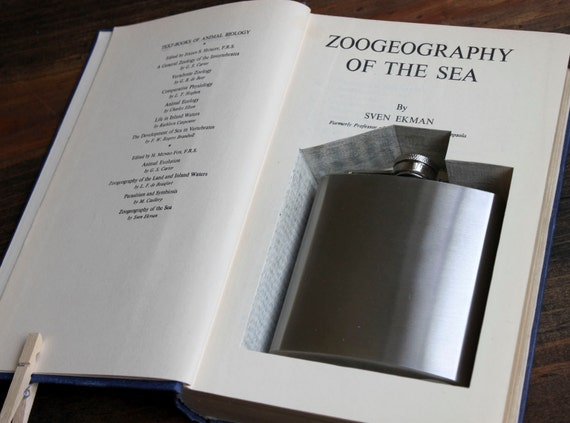 hollow book flask safe ''zoogeography of the sea'' (flask included) - perfect for father's day or grad present - flask hidden in old book