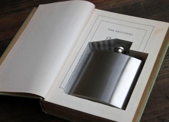 hollow book flask safe ''the brothers ashkenazi'' (flask included) - flask hidden in old book