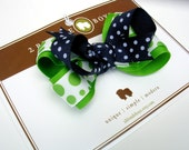 Apple Green and Navy Dotty Bow   BOGO SALE