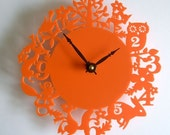 Modern wall clock - It's my forest - Orange Acrylic