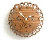 Modern Lion Bamboo Wall Clock, Wooden Clock, Kids Room Decor