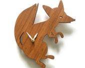 Fox wall clock, modern clock, limited edition