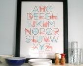 Animal Alphabet Poster - Pink\/Blue