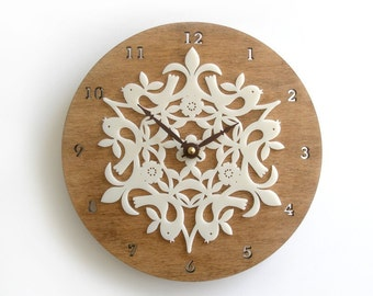 Scandinavian style wall clock, scandinavian modern decor, birdies, housewarming gifts