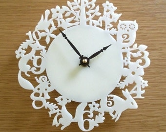 Modern Animal Wall Clock, Ivory Acrylic