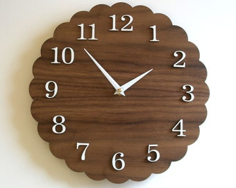 Modern Clock, 11 inches, Walnut Finish, Scalloped
