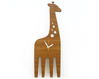 Giraffe Wall clock -  Animal clock - Wall Clock for kids - decorative clock - safari theme - Wall art