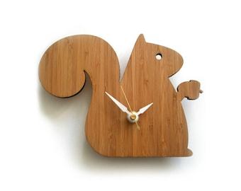 Modern Clock Baby Squirrel Bamboo