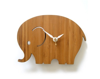 Small Elephant Wall Clock, Modern Nursery Decor, Good Luck, Kids Room