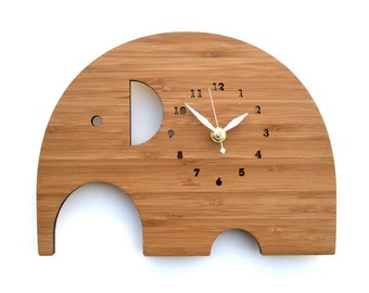 Unique wall clocks Eco-friendly Nursery Decor Kids Room Elephant Wooden Clock Perfect for gift
