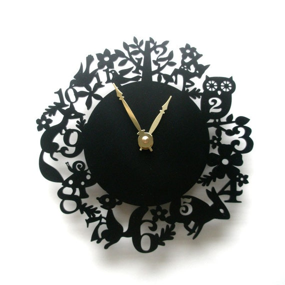 It's My Forest Clock - Black Acrylic