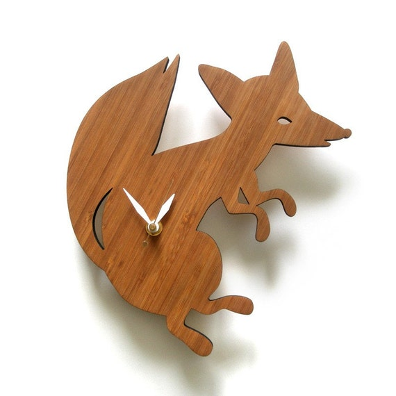 Fox wall clock, modern clock, limited edition