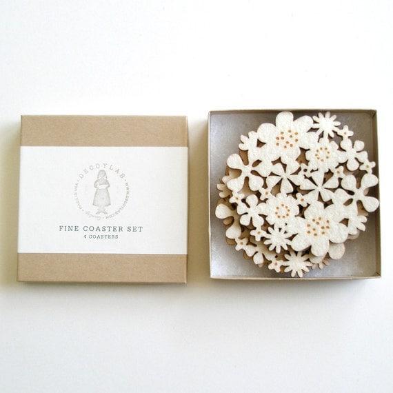 Flower Coasters Set of 4 - White