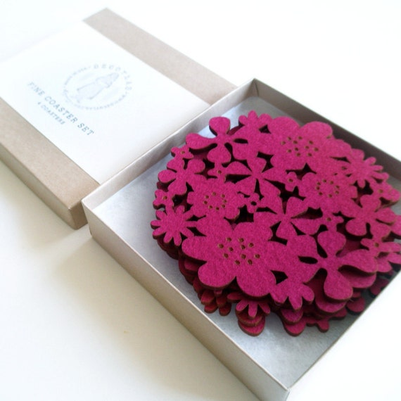 Felt Flower Coasters Set of 4 - Fuschia