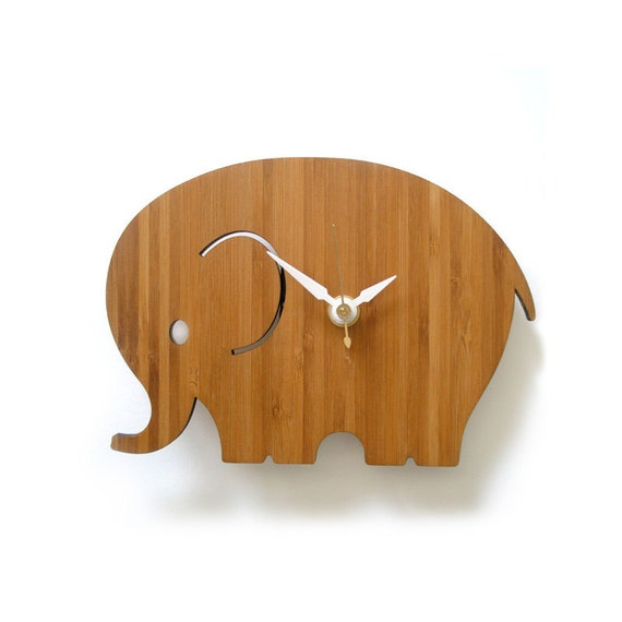 Small Elephant Decor: Home Decor Small Elephant Wall Clock Modern Nursery Decor