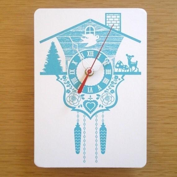 Wall Hanging Clock - Cuckoo Clock - Aqua
