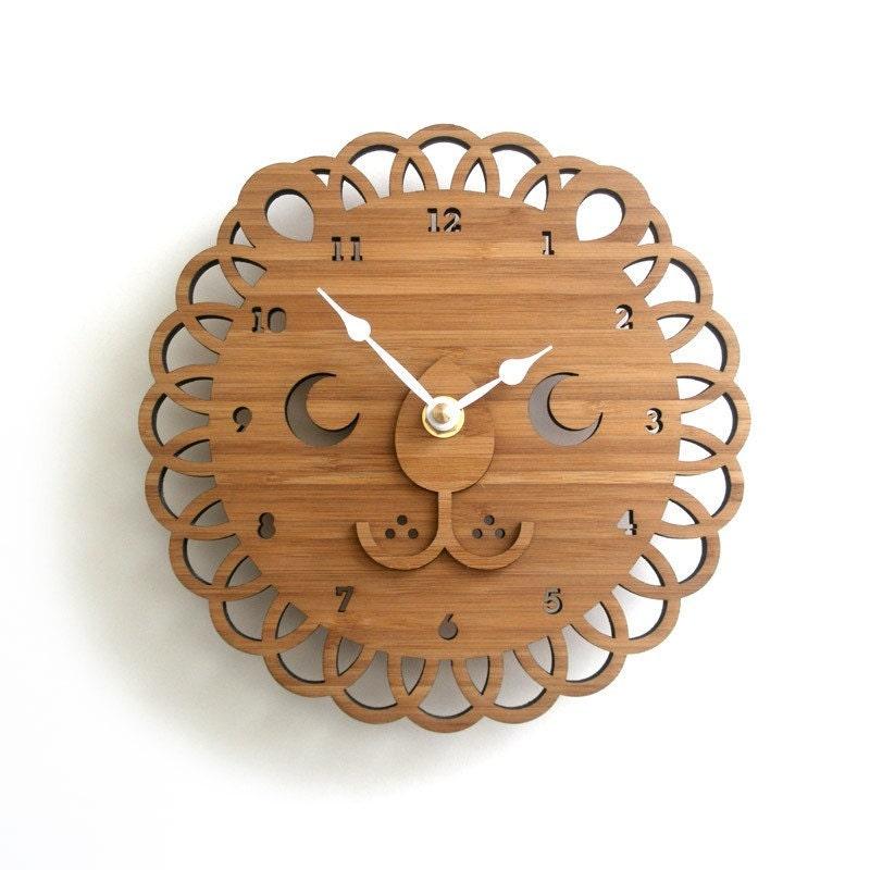 Modern Lion Bamboo Wall Clock Wooden Clock Kids Room Decor