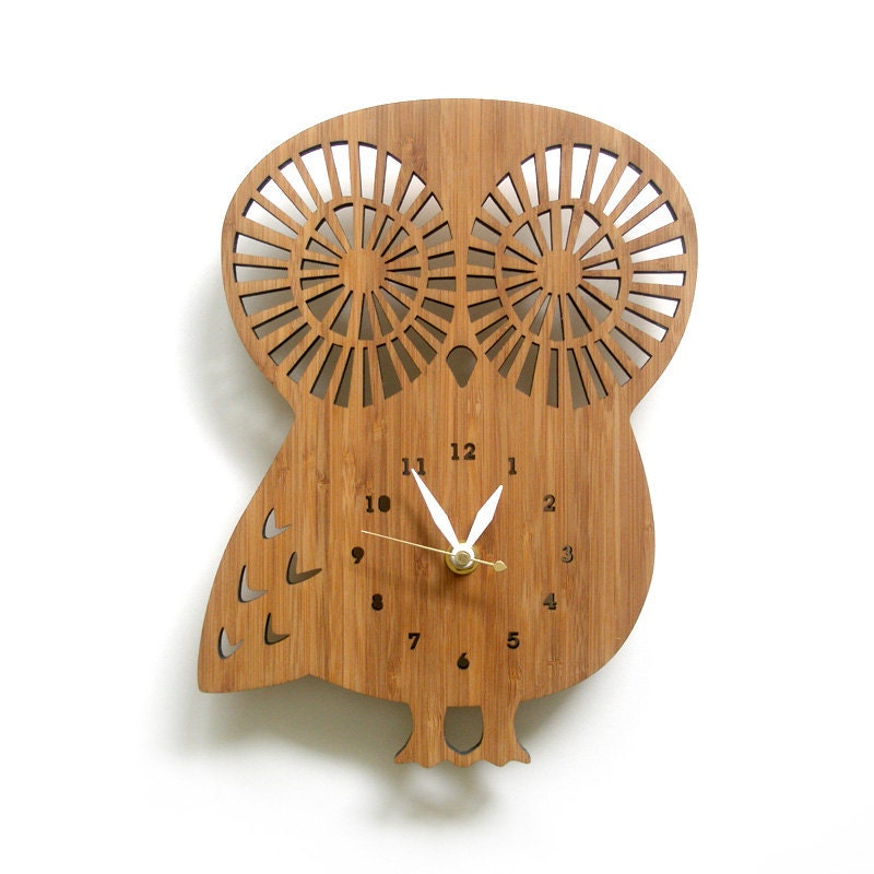 Wall Clock Owl Design : Wooden owl clock with numbers modern wall animal