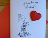 Original cartoon Valentines card with padded satin heart BE MY VALENTINE