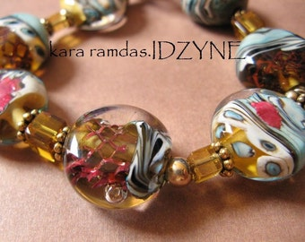November Leaves Bracelet, Lampwork with Copper Inclusions