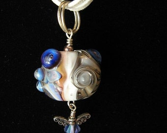 Dragonfly Illusion Necklace with Lampwork Focal and Swarovski Crystal