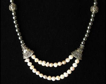 Pearl Drop Necklace, Pearls, Silver and Marcasite