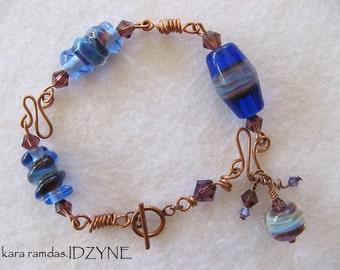 Copper and Blue Smoke Lampwork Wire Bracelet