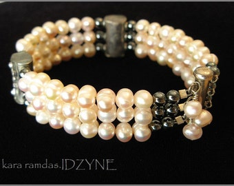Triple Strand Pearl, Silver and Marcasite Bracelet