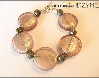 SALE Silver Lavender Crackle Bracelet with Sterling Silver Accents