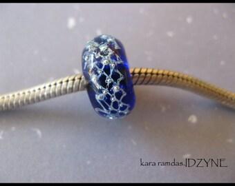 BHB Silver Mesh and Cobalt Blue  Bead Big Hole Bead BHB Handmade Bead SRA - fits European Bracelets