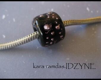Silver Dots on Black  Bracelet Bead Big Hole Bead BHB Handmade Bead SRA - fits European Bracelets