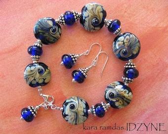 Raku Storm Cobalt Blue and Raku Lampwork and Sterling Silver Bracelet and Earring Set
