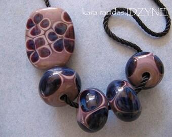 Purple Floral Crunch Focal Plus 4 Beads