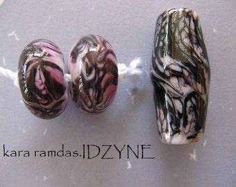 Pink, Black and White Blushing Zebra Lampwork Bead Set