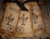 Set of 3 Paris Chic Candelabra Tags w/ Vintage Sheet Music Crinkle Ribbon Elegant Halloween