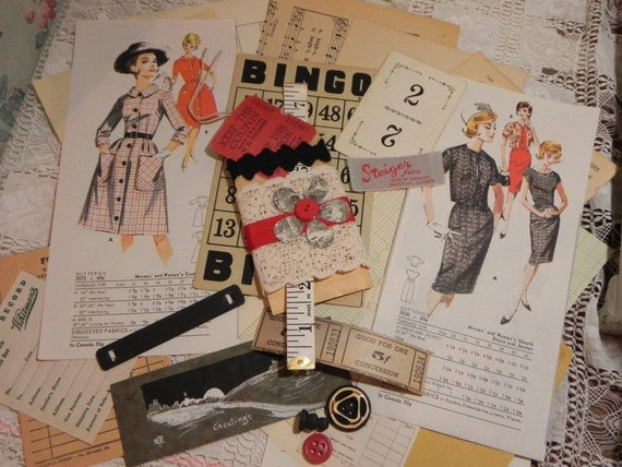 Vintage Black & Red Paper Kit  Altered Old Paperie Collage Pack Paperie Lot