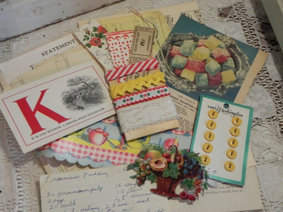 Vintage Kitchen Tea Cup Paper Kit Altered Old Paperie Lot Collage Pack