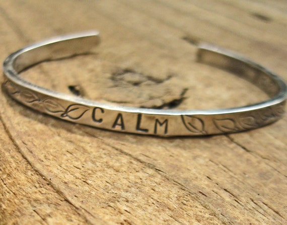 SALE ready to ship CALM Bracelet Cuff in Sterling Silver with Chunky Sterling Silver Bangle