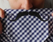 Mustache Handkerchief Deep Purple Graphic Gingham