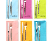 Paint Chip Large Dinner Napkins - Set of 6 Colors - bright summer rainbow colours large size
