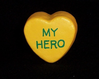 My Hero - Message Heart for Floral Arrangement/Cake Topper