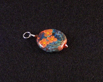 Lampwork Glass Pendant: Autumn Flowers