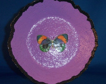 "Papier Mache Butterfly Bowl ""Jewel in the Rough"""